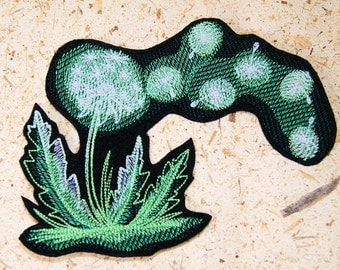 Glow in the Dark Dandelion Puff Iron On Embroidery Patch MTCoffinz - Choose Size