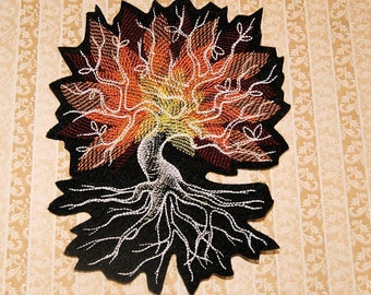 Autumn Leaves at Midnite - Iron On Embroidery Patch MTCoffinz - Choose Size