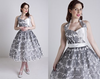Made to Order, 50s inspired grey and white floral organza halter neck dress, with a sweetheart neckline, sizes UK 6-24