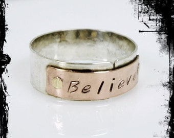 Christmas in July SALE Riveted Tab Ring, Sterling Silver and Copper Riveted Ring