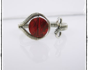 Adjustable Wire Wrapped Ring - Antiqued Sterling Silver Wire Woven Ring, Siam