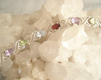 Mult-Gemstone Multi-Colored Sterling Silver Bracelet