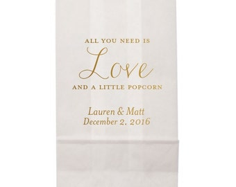 All You Need Is Love and a Little Popcorn!Favor Bags with Shiny Gold Foil | Personalized Custom Popcorn Bags | Wedding Favors