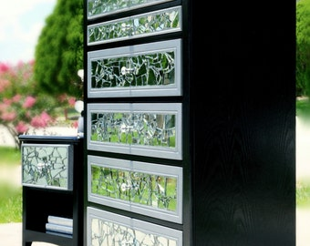 Mirrored mosaic tall dresser