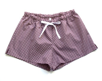 Womens Sleep Shorts, Pajama Shorts, Sleepwear, French Cotton Cambric, Fig With White Stars, Gift for her, Ships Worldwide
