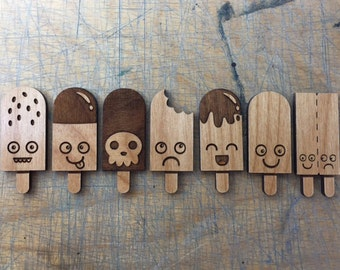 Laser Cut Wooden Badge Set: Mini Ice Cream Character Set (1 only)
