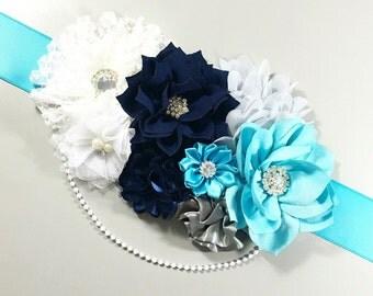 Shades of Blue Maternity Sash