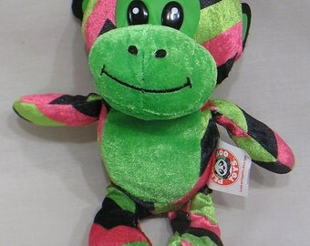 Vintage Plush Toy Peek A Boo Toy Pink Green Black Monkey Plastic Eyes