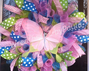 Summer Wreath/Spring Wreath/Butterfly wreath/ Summer Deco Mesh Wreath/ Summer Door Decor