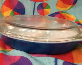 Vintage Blue Pyrex Split Casserole Dish With Lid