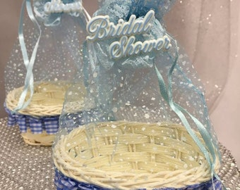 Bridal Shower Wicker Basket Pouch Party Favors