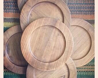 Danish Modern Wiggers Teak Plates -set of Seven