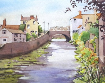 "Original watercolour painting ""Coastal Village, Aberaeron, Wales, UK"""