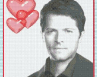 Love Castiel (Supernatural - Misha Collins) Portrait Counted Cross Stitch Chart