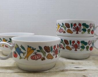 Soup Mugs, set of 4 japanese soup mugs, Nantucket R8 350