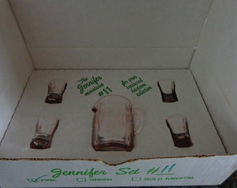 Vintage Mosser Pink Glass Jennifer Set Pitcher and 4 Tumblers - Glasses in Box Translucent Glass No 11