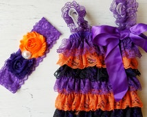 Baby Halloween romper set  , baby romper,lace Vintage  romper , halloween ,Photography Prop, Baby clothing, Ruffle romper, Baby girl vintage