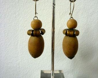 Vintage Austrian Earrings / Acorn Jewelry / Wood and Metal