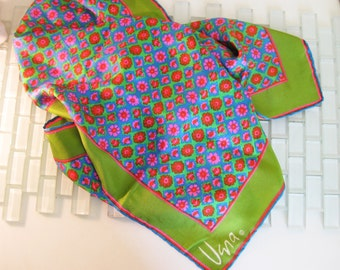 Vera Silk Scarf Gold Piece Collection Green Blue  Italy