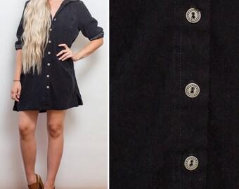Little black dress- Vintage faux SUEDE 90s GRUNGE button up shirt dress long sleeve MINI dress fall nineties dress
