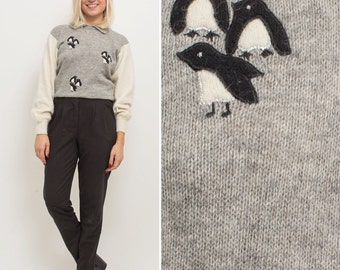 Penguin sweater vintage 80s NOVELTY collared GREY cropped long sleeve knit ANGORA embroidered holiday sweater