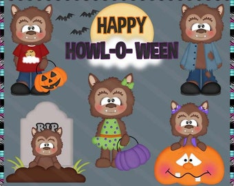 Happy Howl-O-Ween, Halloween, Wolves, Werewolf - Instant Download - Semi Exclusive Commercial Use Digital Clipart Elements Set