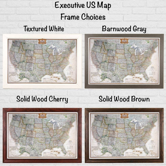 Personalized Executive Us Travel Map With Pins And Frame Push Pin Travel Map Detailed Us Map Large Framed Map Us Bucket List Travels