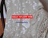 Hand embroidered wedding wrap silk piano shawl, spanish flamenco dancewear