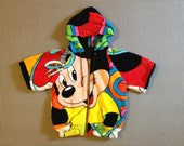 1980's, hooded, cropped, short sleeve, zip front, jacket, in Mickey Mouse print terrycloth, Kids size Large, Women's size XS