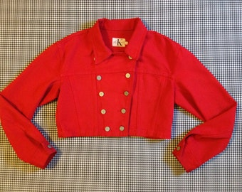 1990's, cropped, double breasted, denim jacket, in red, by Calvin Klein, Women's size Medium