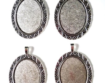 4 Large Antique Silver Tone Oval Cameo Setting 30 x 40mm Tray Blanks (D)