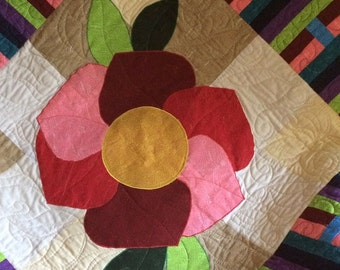 Handcrafted Floral Contemporary Art Quilt, Fiber Art, Modern Floral Quilt, Quilted Wall Hanging, Modern Quilted Wall Hanging