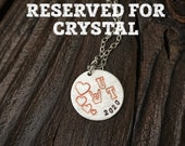 Reserved for Crystal L - University of Texas Hand Stamped Graduation Charm Necklace
