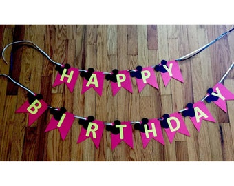Mickey Mouse or Minnie Mouse birthday banners PERSONALIZED with name!