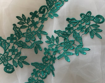 Green venice lace applique , crochet wedding applique lace trim