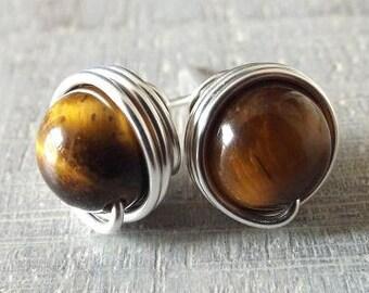 Tiger Eye Stud Earrings. Tiger Eye Jewelry. Brown Stone Earrings. Silver Tiger Eye Studs. Wire Wrap Jewelry. Mom Gift. Gift for Wife