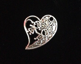 Heart Charm with Boy and Girl Holding Hands, 12 pieces Cut out heart charms, Antique Silver Finish kid charms family charms 30x23mm, 8-26-AS