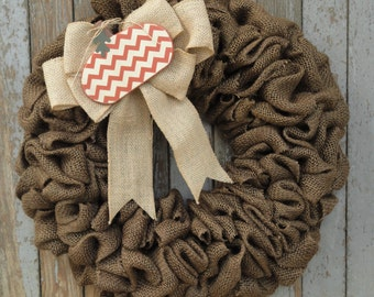 Fall Burlap Wreath, Thanksgiving Burlap Wreath, Pumpkin Wreath, Autumn Burlap Wreath, Brown Burlap Wreath, Rustic Burlap Door Decor