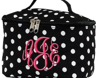 Personalized Cosmetic Bag | Bridesmaid Gift | Custom Makeup Bag | Cosmetic Travel Bag | Monogrammed Cosmetic Bag | Polka Dot Cosmetic Bag