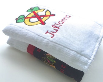 Chicago,Blackhawks, Hockey, Personalized burp cloths, baby burp cloth, Personalized baby gift,