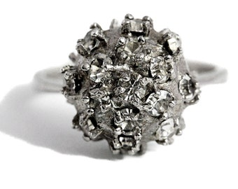 Ball Cubic Zirconia Ring Silver
