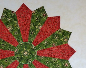 """Christmas Table Topper, Quilted Tabble Topper, Table Topper, Three Color Christmas Topper """"Shimmering Snowflakes and Berries"""""""