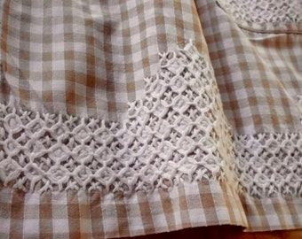 1960s smocked apron ~ vintage cotton apron hand embroidered cross stitch smocked