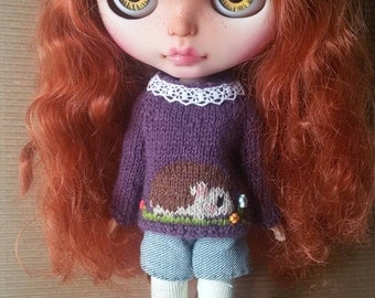 Hedgehog sweater for Blythe, Licca, Pure Neemo, bjd doll. Forest Animal jumper