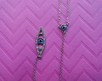 Evil eye long lariat Y necklace