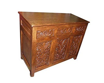 Antique Media Sideboard Console Buffet Floral Carved Storage Chest  Spanish Moroccan Mediterranean Boho Shabby Chic Interiors