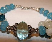 Ethiopian Opal, Blue Topaz Quartz, Blue Topaz, Angelite, Sterling Silver Bracelet