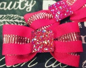 "2"" Hot Pink Sparkle Mini Bow Set"