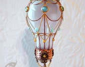 Decorative Ornament Frost White Stained Glass Light Bulb Hot Air Balloon with Blue and Green Cabochons Holiday Christmas