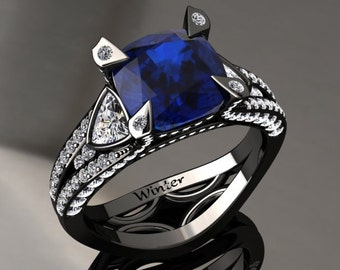 Blue Sapphire Engagement Ring Blue Sapphire Ring 14k or 18k Black Gold Matching Wedding Band Available W31BUBK